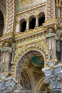 La Basilique Notre-Dame de Fourvière in Lyon, France. It was built between 1872 and 1876 in a neo-Byzantine style and offers a magnificent view over the city. It was designed by architect Pierre Bossan of Lyon, France. / France / Lyon / Basilique Notre Dame de Fourviere ༺ ♠ ༻*ŦƶȠ*༺ ♠ ༻