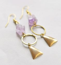 Amethyst Sunset Earrings // Geometric Earrings // Geometric Jewelry // Dangle, Long Earrings // stone earrings // stone and metal earrings