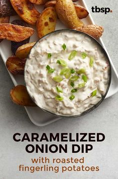 If you make this dip, you'll have to accept double-dipping as a reality. Caramelized onions and sour cream with potato dippers? Sour Cream Potatoes, Creamed Potatoes, Appetizer Ideas, Appetizer Recipes, Appetizers, Caramelized Onion Dip, Roasted Fingerling Potatoes, Breakfast Menu, Recipe Ideas