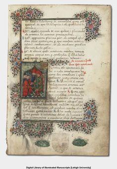 Antonio Guainerio. De Artetica et De Calculosa Passione, in Latin. 15th century manuscript on vellum, written in Italy. 96 ff. 22 x 15 cm. Image 5 of 198 within this work. Includes miniature, decorated initial, and decorated border.  Lehigh University