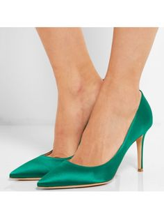 Pointed Toe High Heel Green Women's Pumps