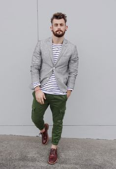 Gray Linen Jacket, Striped Shirt, Olive Green Cargo Pants. Men's Spring Summer Street Style Fashion.
