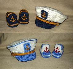Ravelry: Little Captain Cap, Tie and Booties - Newborn, Baby, Toddler, Photo Prop - Crochet Pattern set pattern by Cathy Ren: Crochet Baby Costumes, Crochet Baby Clothes, Crochet Shoes, Crochet Baby Hats, Baby Knitting, Crochet Converse, Baby Set, Baby Patterns, Crochet Patterns