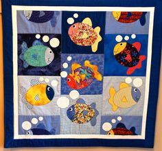 Fish & Bubbles Appliqued Baby Blanket Quilt via Etsy.