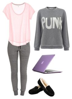 """""""Lazy Sunday"""" by onceuponamersuperwholock ❤ liked on Polyvore featuring Bella Freud, UGG Australia and Speck"""