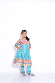 Buy Ashwini Girls Netted Embroidery Blue Salwar for Girls from age 2-8 years at Singlekart.com/ Currently available for Customers in Bangalore. #singlekart RHClothing