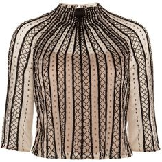Temperley London Crivelli Stripe Top ($725) ❤ liked on Polyvore featuring tops, shirts, blouses, blusas, holiday shirts, stitch shirt, shirt top, cut-out crop tops and striped shirt