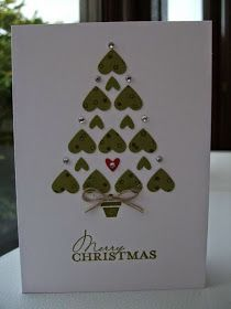 Scrapbook Christmas Cards Easy Christmas Card Made With Ever The Handiest Heart Punch So Simple Christmas Tree Decorations To Make, Creative Christmas Trees, Christmas Card Crafts, Homemade Christmas Cards, Christmas Cards To Make, Diy Christmas Tree, Simple Christmas, Handmade Christmas, Homemade Cards