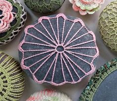 Crochet Lace Stone, Pink, Handmade, Original, Table Decorations, Art, Home Decor, Gray Stone