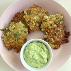 Sweet Corn and Zucchini Fritters with Avocado Crema