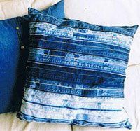 Denim Pillow: save the seams and stitch to make a very durable pillow top.