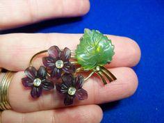 Vintage GLASS VIOLETS Flower RHINESTONES PIN Suffragette Amethyst antique brooch | eBay Pin, Violet, Vintage