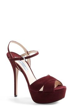 "Free shipping and returns on Prada Strappy Sandal (Women) at Nordstrom.com. 5 1/2"" heel; 1 1/2""platform (size 39).<br>Adjustable strap with buckle closure.<br>Suede upper/leather lining/leather and synthetic sole.<br>By Prada; imported.<br>Salon Shoes."