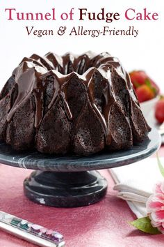 Tunnel of Fudge Cake Recipe - vegan and allergy-friendly: dairy-free, nut-free, egg-free, soy-free, optionally gluten-free chocolate love! Chocolate Bundt Cake, Chocolate Desserts, Chocolate Box, Vegan Sweets, Vegan Desserts, Vegan Cake, Tunnel Of Fudge Bundt Cake Recipe, Cake Recipes, Dessert Recipes