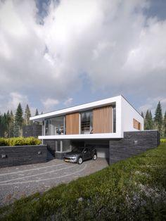 Render Ster van de Week – Maas Architecten in Enschede - De Architect Residential Architecture, Architecture Design, Modern Family House, Hillside House, Garage House, Dream House Plans, Bungalow, Building A House, New Homes