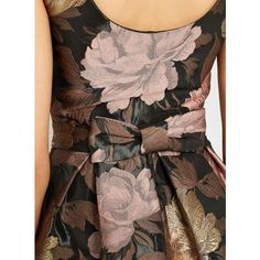 Bow Back Floral Prom Dress ❤ liked on Polyvore featuring dresses, flower printed dress, floral pattern dress, floral print dress, brown dress and flower design dresses