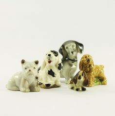 Vintage Lot of 5 Miniature Porcelain Dogs, Dachshund, Beagle, Terrier, Cockerspaniel, Basset Hound, Dog Decor, Puppy Miniatures - pinned by pin4etsy.com