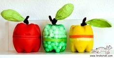 Apple containers made of 2 liter bottle bottoms.