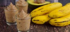 Avocado Banana Chocolate Pudding on Wooden Background
