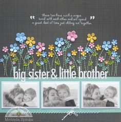 Big Sister & Little Brother great layout with small flowers Baby Girl Scrapbook, Baby Scrapbook Pages, Scrapbook Albums, Scrapbook Cards, Kids Scrapbook Ideas, Paper Bag Scrapbook, Scrapbook Supplies, Scrapbook Designs, Scrapbook Sketches