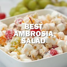 The Best Ambrosia Salad made with No Cool Whip! A retro salad that's perfect for holidays and family gatherings! The Best Ambrosia Salad made with No Cool Whip! A retro salad that's perfect for holidays and family gatherings! Cool Whip, Dessert Salads, Fruit Salad Recipes, Jello Salads, Pineapple Dessert Recipes, Ranch Pasta, Soup And Salad, Pasta Salad, Gastronomia