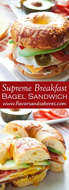 This recipe for a Supreme Breakfast Bagel Sandwich with Spicy Cream Cheese makes an amazing hearty breakfast sandwich piled high all your favorite toppings. Bagel Breakfast Sandwich, Soup And Sandwich, Sandwich Recipes, Vegan Breakfast Recipes, Brunch Recipes, Breakfast Meals, Homemade Bagels, The Best, Supreme