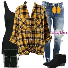 74edfc56ba8d06 (pre-order) Set 686  Mustard Plaid Button Shirt (incl. top