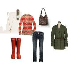 orange hunter boots outfits - Google Search                                                nice