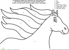 Horse Printable Color By Number Page