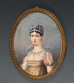 "Portrait Miniature of Empress Marie Louise, adorned with a precious stone diadem, signature ""Gerard"" in the lower right; golden brass frame, height 10 cm, 20th century"