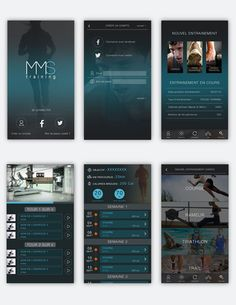 Design des écrans pour l'application MMS Training imaginée par la société MMSport.
