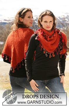 "DROPS shawl in garter st in 2 threads ""Alpaca"" with crochet border in ""Big Fabel"". ~ DROPS Design"