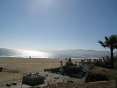 View of the opposite end of the Santa Monica beach