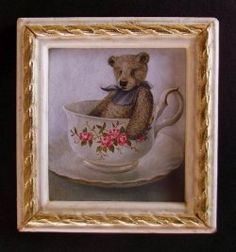 """""""The Teddy in the Teacup"""" by Cindy Lotter Original Paintings, Original Art, Oil Paintings, Small Art, Teacup, Dollhouse Miniatures, Picture Frames, Artisan, Framed Pictures"""