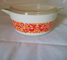 Vintage Pyrex 475-B Friendship Birds Flowers by ThisThriftyGirl