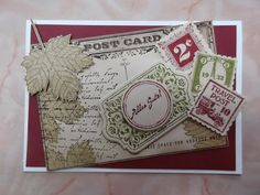 Stampin up Sets : Postcard, Postage Due, Magnificent Maple, Tafelrunde, Notable Notions,