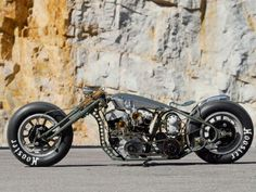 Custom built motorbike. Looks cool. Can't imagine it's comfortable though