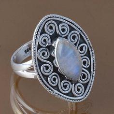 925 STERLING SILVER RAINBOW MOONSTONE RING JEWELRY 5.51g DJR8375 SZ-7 #Handmade #Ring