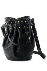Black Diego Bucket Bag with Gold Studs  #Chicwish soo cute, would go perfect with my leather biker jacket