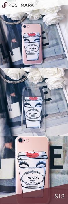 ☕️Prada coffee and eyelashes iPhone 7 phone case☕️ New! iPhone 7 phone case. Silicone TPU material, gorgeous print and amazing protection. It is lightweight and slim fitting. Great for coffee and makeup lovers😉 ✨Bundle to save 10% off 2 or more items!✨ Prada Accessories Phone Cases