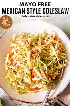 This no mayo coleslaw just takes 10 minutes to make, and it's so flavorful with its zesty avocado lime dressing. You'll love the creamy and crunchy flavor, and it's paleo, vegan, Whole30, keto, and AIP-friendly! Gluten Free Recipes Side Dishes, Whole30 Recipes, Healthy Side Dishes, Side Dishes Easy, Healthy Food, Paleo Vegan, Delicious Vegan Recipes, Real Food Recipes, Healthy Recipes