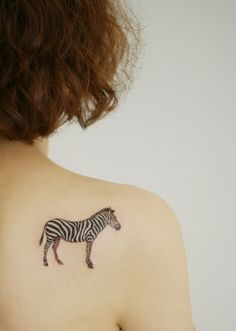 Black ink small zebra tattoos on back shoulder