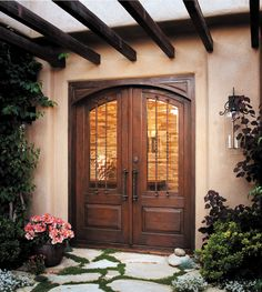 Spanish style front doors, old world custom wine cellar doors, Santa Fe style door made with antique Mexican doors & pintle hinged doors. Iron Front Door, Double Front Doors, Front Entry, Southwestern Home, Southwest Decor, Southwest Style, Custom Exterior Doors, Santa Fe Home, New Mexico Homes