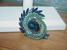 VINTAGE Jewelry SCHREINER PEACOCK RHINESTONE Navette WATERMELON RIVOLI BROOCH | eBay