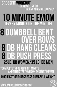 CrossFit Workouts for Traveling or Having Minimal Equipment | 10 Minute EMOM | www.barbellsandbaking.com