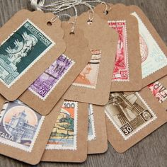 Gift Tags Vintage Stamps Postage Stamps set of 10 kraft hang tags for the world traveler.