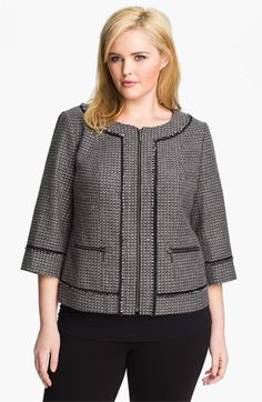 We welcome every plus-size professional woman who wants to build a closet of modern, elegant and well fitting work wear and invite you to visit www.executive-image-consulting.com for more information. Sejour Zip Front Tweed Jacket (Plus) available at Nordstrom