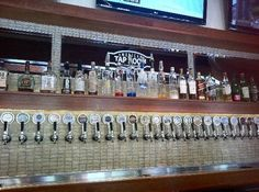 straight row of taps....  30 beers on tap