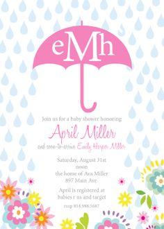 April Custom Baby Shower Invitation In Pink With Umbrella Printable Design 15 00