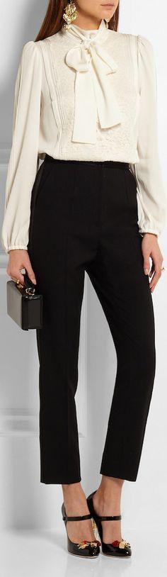 DOLCE & GABBANA  Lace-Paneled Silk-Blend Chiffon Shirt